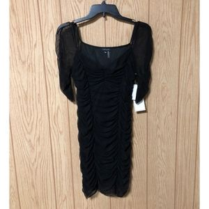 1.State Ruched Sleeve Mesh Body-Con Dress
